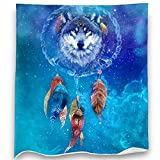 Loong Design Wolf and Dreamcatcher Throw Blanket Soft Fluffy Premium Sherpa Fleece Blanket 50'' x 60'' Fit for Sofa Chair Bed Office Travelling Camping Gift