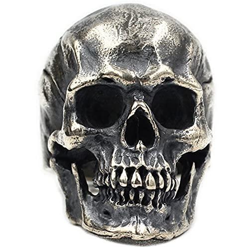 YANGFJcor Norse Retro Men Skull Devil Ring Heavy Gothic Biker Hip Hop, Mujeres Negro Vintage Punk Moda Hombre Motocicleta Rock Máscara Amuleto Joyería Regalo, Tamaño 7-14,Skull,7