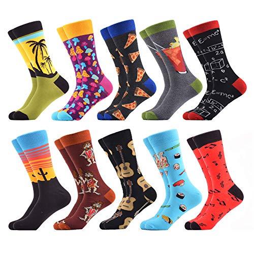 WeciBor Calcetines Hasta La Pantorrilla Para Hombre Estampados Hombres Ocasionales Calcetines Divertidos Impresos de Algodón de Pintura Famosa de Arte Calcetines de Colores de moda (ES066-38)