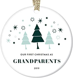 Our First Christmas Grandparents Ornament 2019 Gift Ideas 1st Time Grandmom & Grandpop Baby First Year Memory Keepsake Promoted to Grandma Grandpa Cute Whimsical 3