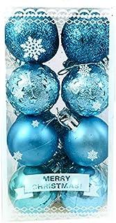 Evisha Medium Size 16 Pcs Blue or Gold Colour Balls for Christmas Tree Hanging Decoration