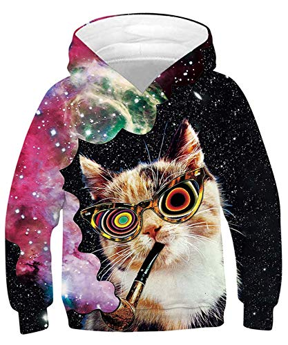 ALISISTER 3D Druck Neuheit Hoodie Kapuzenpullover Kinder Coole Galaxis Katze Muster Hooded Pullover Sweatshirt Lässige Party Kapuzenjacke Outwear Tops L