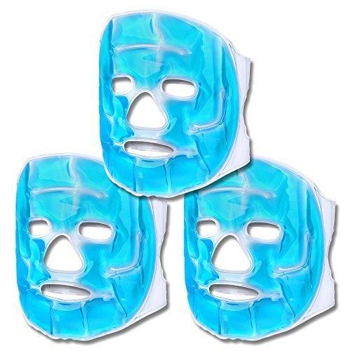Schramm® 3-delat set kylmasker blå ansiktsmask kylmask kylande glasögon ögonmask gel mask sovmask avslappning mask gula glasögon migrän mask glasögon