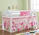 Noa and Nani - Midsleeper Cabin Bed with Floral Tent - (White)