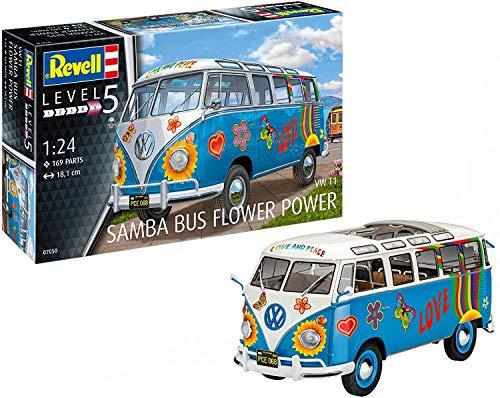 Revell 07050–Modellino Auto 1: 24–Volkswagen VW T1Bulli Samba Bus Flower Power in Scala 1: 24, Level 5, orgin nachbildung ricche di alghe con Molti Dettagli -