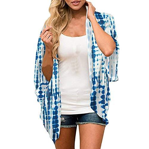 Cárdigan Protector Solar Ligero de Verano,Cárdigan de Gasa con Mangas de Murciélago Blusa Estampada Beach Kimono Blusa Chal Tops Outwear