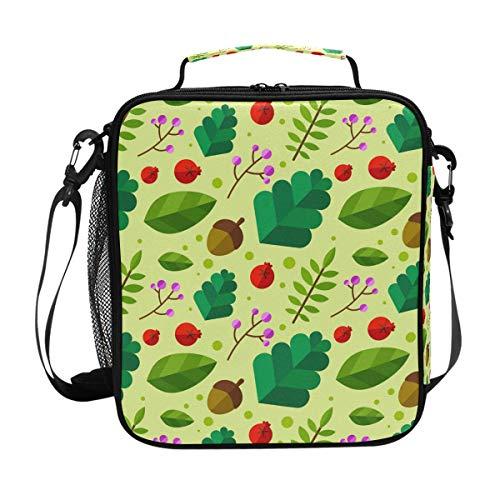 Deziro Lunch-Tasche, doppelt, isoliert, Blätter- und Nuss-Motiv