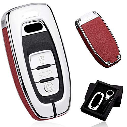 Funda para llave de coche de ontto para Audi A4/A5/A6L/A7/A8/A8L/Q5/S5/S6/S7/S8 Llave De Coche ProteccióN De AleacióN De Zinc Carcasa Dura + Llavero De Metal