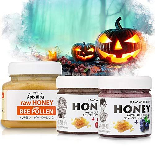 【Amazon.co.jp 限定】非加熱 無殺菌 ハニー セット品 クランベリー生はちみつ / ブルーベリー生はちみつ / ビーポーレン生はちみつ ギフトセット ハロウィンセット Halloween Raw Honey Gift Set: Raw Hone
