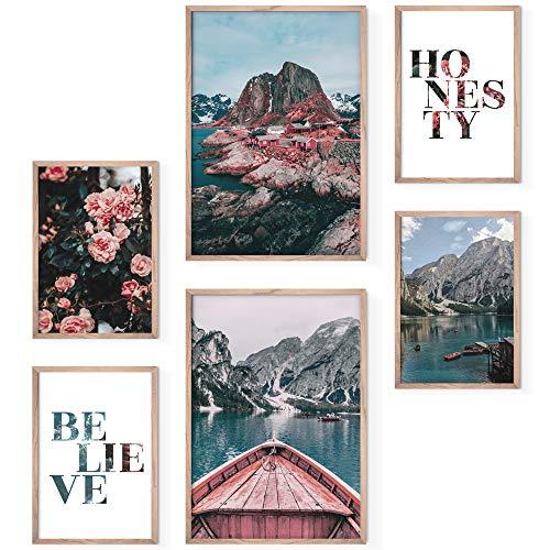 Bold Design Poster Set Nordic - 4 x DIN A4 & 2 x DIN A3 - Harmonierende Bilder mit Bergen & Fjord für Wohnzimmer & Schlafzimmer (Nordic)