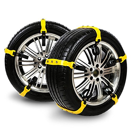 Car Chains Anti Slip Snow Chains Adjustable Anti-skid Emergency Snow Tire Chains for Most Cars/Trucks/SUV /JEEP/ATV Car Belting Straps Mud Ice Snow Chains Set of 10 Width 185-295mm/7.2-11.6''