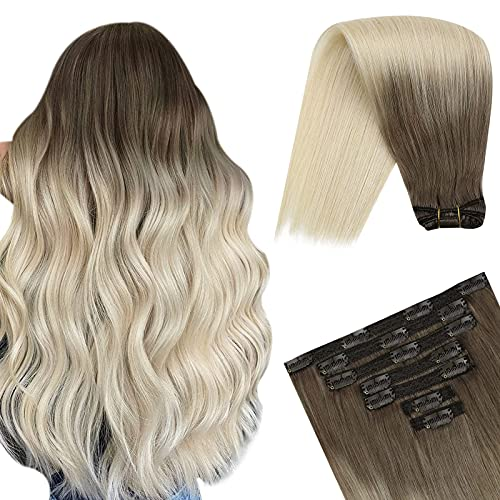 YoungSee 14 Pouces Extension a Clip Blond Vrai Cheveux Humain Double Weft Remy Human Hair Balayage Clip in Hair Extension Ombre Blond 7pcs/120g