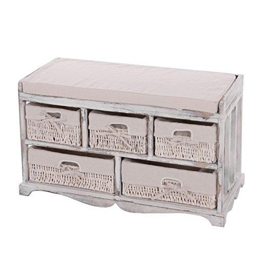 Mendler Kommode und Sitzbank mit 5 Schubladen, 77x45x36cm, Shabby-Look, Vintage ~ weiß