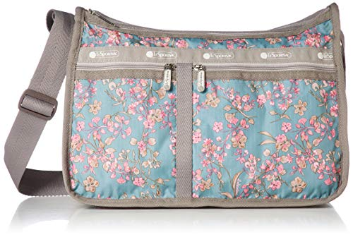 LeSportsac Laelia Moss Deluxe Everyday Crossbody Bag + Cosmetic Bag, Style 7507/Color F428, Light Teal Green/Turquoise Bag w Multi-color Laelia Orchids