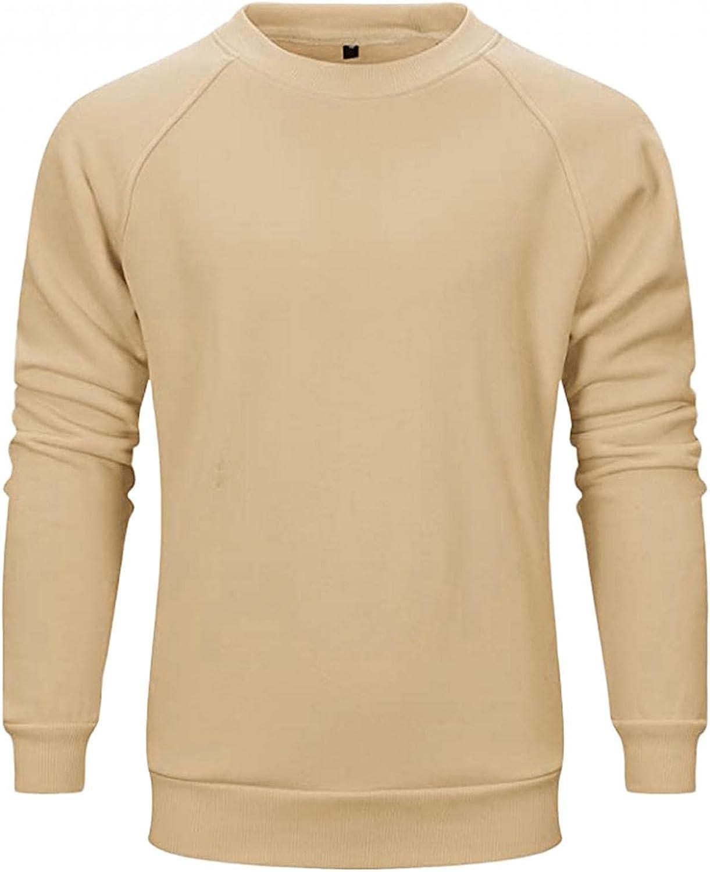 Mens Pullover Sweatshirts Regular Fit Long Sleeve Crew Neck T-Shirt Lightweight Athletic Outdoor Top Soft Textured Tops