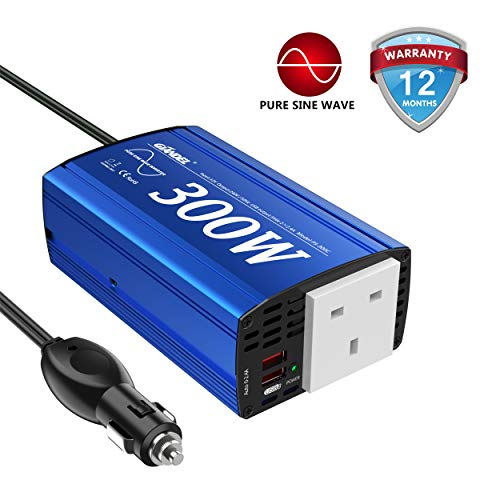 GIANDEL Pure Sine Wave Power Inverter 300Watt Car Adapter Converts 12V DC to 240V AC with 4.8A Dual USB and AC Outlet for Tablets Laptops Smartphones CPAP