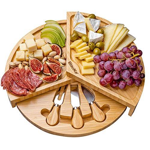 Tabla de Quesos con Utensilios Extensible, para 2-3 Personas – Bandeja de Madera para Queso Desayuno Aperitivo – Tabla de Madera de Bambú para Cortar Queso – Bandejas para Servir Comida – Idea Regalo