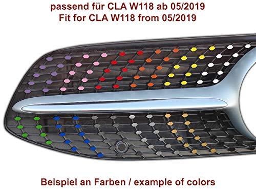 Diamantgrill Folien Sticker für Mercedes CLA W118 C118 AMG Grillaufkleber (Schwarz)