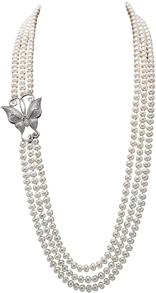 JYX Pearl Triple Strand Necklace AAA+ Quality 7.5-8mm Freshwater Cultured Pearl Opera Necklace
