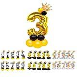 Unishop Cumpleaños Globos Foil Metálico Globos de Números Gigante Oro Plata Globos para Fiesta de Cumpleaños Aniversarios Globos Numeros para Cumpleaños Fiesta Decoración (Oro 3)
