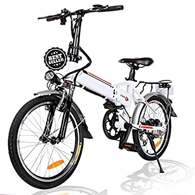 Angotrade 20 inch Folding Electric Bike 21 Speed 36V 8A Lithium Battery Mountain Electric Bicycle for Adult