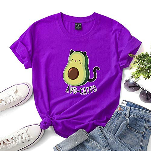LXHcool Avogato Gato - Camisa Divertida del Aguacate, Alimentación Camisa Amante, Camisa Vegano, Amante del Gato Camiseta (Color : Purple, Size : XS)