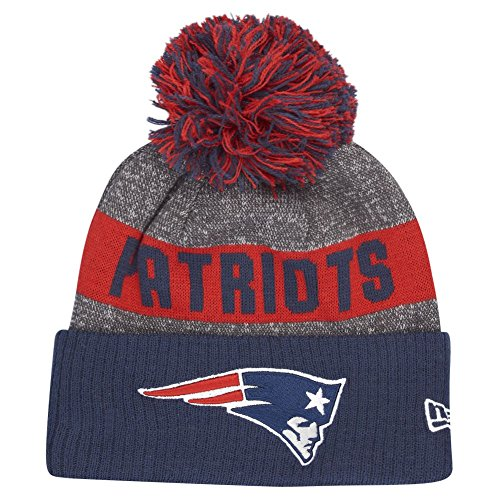 New Era New England Patriots Beanie NFL Sideline Bobble Grey/Navy/Red - One-Size