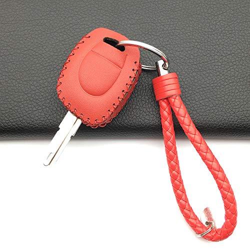 RWJFH para Renault Twingo Clio Master Kango 100%Cuero Funda para Llave de Coche Titular de la Cubierta 1 Botones Carcasa Protectora para Llave, Rojo con Llavero