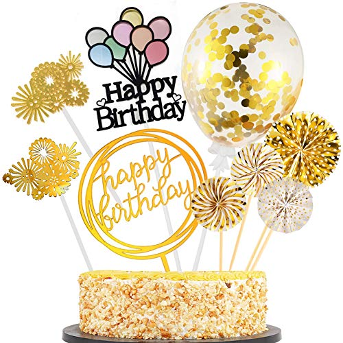 Sunshine smile Cake Topper Happy Birthday, Glitter Cake Topper, Kuchendekoration Geburtstag, Tortenaufsatz, Tortendeko, Tortenstecker Geburtstag, Kuchendeckel, Cupcake Topper (Golden)