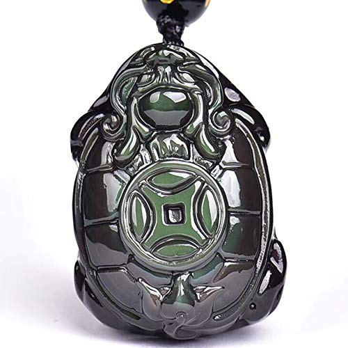 Feng Shui Collier Naturel Obsidian Dragon Tortue Pendentif B