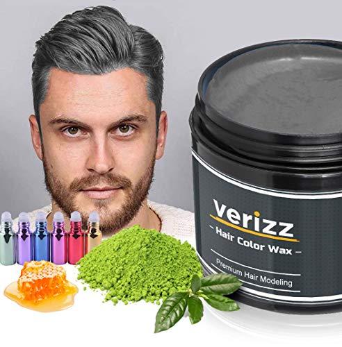 Verizz Coloured Hair Wax | Kleur Wax Haren | Tijdelijke haarkleuring in actuele modekleuren | Kleur Wax in aantrekkelijke kleuren voor moderne kapsels | Nieuw haarkleur systeem (GRIJS)