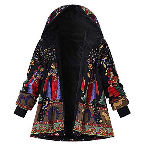 Smileyth Women Hooded Overcoat Long Sleeve Novelty Print Soft Lining Shaggy Winter Warm Comfy Outwear with Pockets Casual Loose Fit Vintage Oversize Hasp Coats