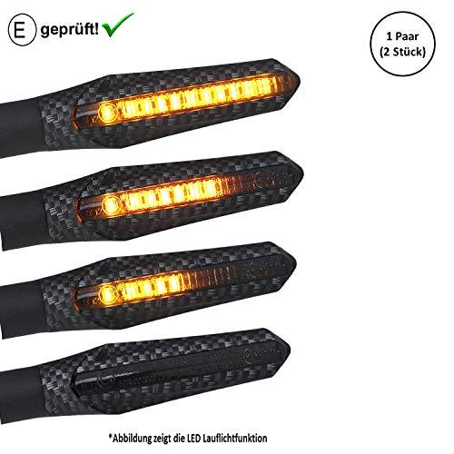 Universal Motorrad LED Blinker Lauflicht Laufeffekt (E-Geprüft) Motorroller LED Blinker (ECE) (V5) (Carbon)