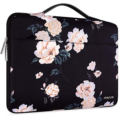 MOSISO 360 Schutz Laptop Aktentasche Handtasche Kompatibel mit 13-13,3 Zoll MacBook Pro, MacBook Air, Notebook mit Hinten Trolley Gürtel, Polyester Stoßfeste Sleeve Hülle Tasche, Aprikose Pfingstrose