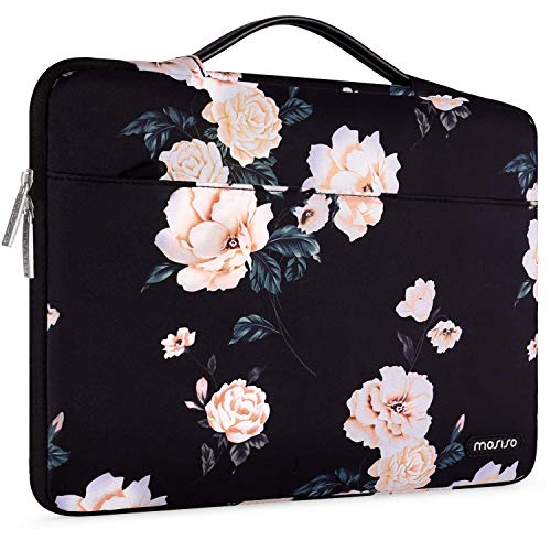 MOSISO Laptop Sleeve 360 Protective Case Bag Compatible with 13-13.3 inch MacBook Pro, MacBook Air, Notebook with Trolley Belt, Polyester Shockproof Carrying Case Briefcase Handbag, Apricot Peony