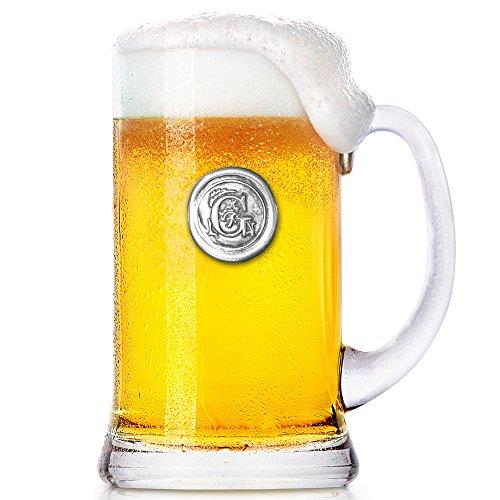 English Pewter Company Mon007 Taza de cerveza con inicial monograma de 1 pinta – regalos únicos...