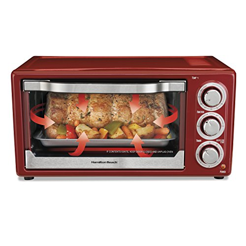 Hamilton-Beach 31514C 6 Slice Capacity Convection Toaster Oven, Red