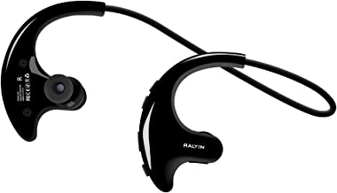 Ralyin Wearable MP3 Player Walkman Sport Wireless Headphones with Microphone Bluetooth Earbuds Built in 8GB TF Card Memory Storage Headset for Running Gym Workout Sweatproof Earphones Cordless (Black)