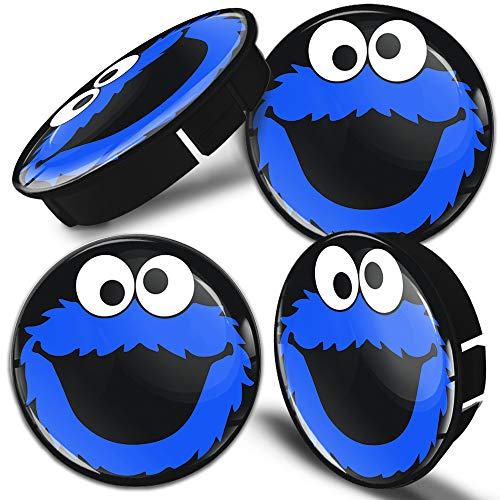 Biomar Labs 4 x 60mm Universal Tapas de Rueda de Centro Tapacubos para Coche Negro Azul Elmo Cookie Monster C 58
