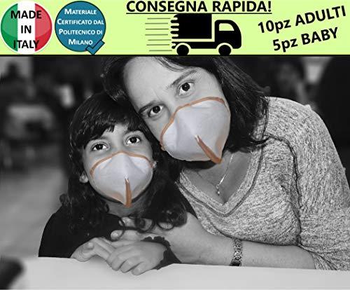 15 Mund und Nase Made in Italy, waschbar, in 3 Schichten mit SMS40 g/m², zertifiziert durch die Politik Milano, hydrophob, dicht gewebt, atmungsaktiv, hohe Filtrationsfähigkeit - M02A mix