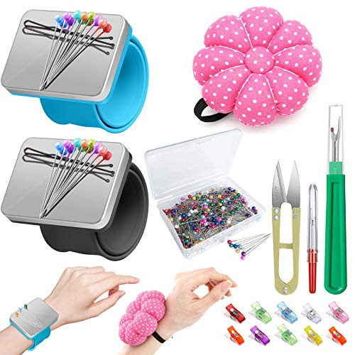 ICNOW 216 PCS Sewing Pin Cushion Kit,Needle Cushion,2 Wrist Magnetic Pin Cushion with 200 Straight Sewing Pins,10 Sewing Clips,2 Seam Ripper and Sewing Scissor,Sewing Products for DIY