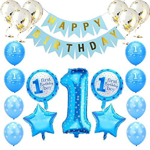 KATELUO Globos de Cumpleaños 1 Año, 1er Cumpleaños Bebe Globos Decoracion, 1 Año Bebe Niña Niño Globos Rosado Azul de Cumpleaños con Banner de Feliz (Azul)