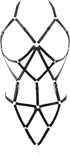 Women Cut Out Black Bandeau Harness Strappy Body Caged Bra