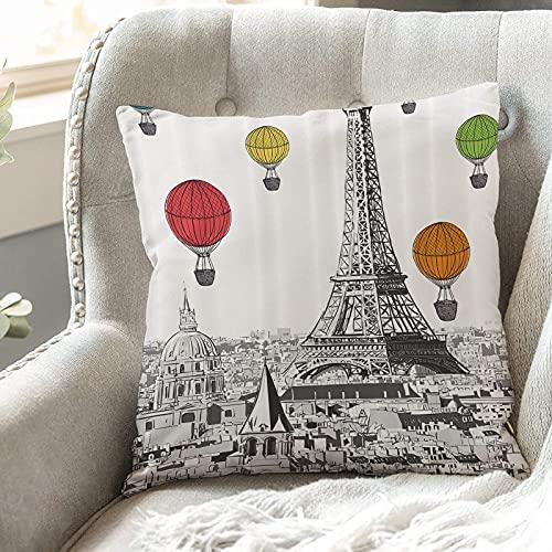 Fodera per Cuscino,Paesaggio urbano della Torre Eiffel di Parigi, Notre Dame con mongolfiere colorate,,Poliestere Fodere per Cuscini Federa Divano con Cerniera,Auto Cuscino Home Bed Decor 45 x 45 cm
