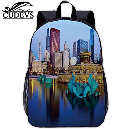 Reflected in Buckingham Fountain,Travel Bag,082284,Work,17in12.2 Lx5.5 Wx17 H