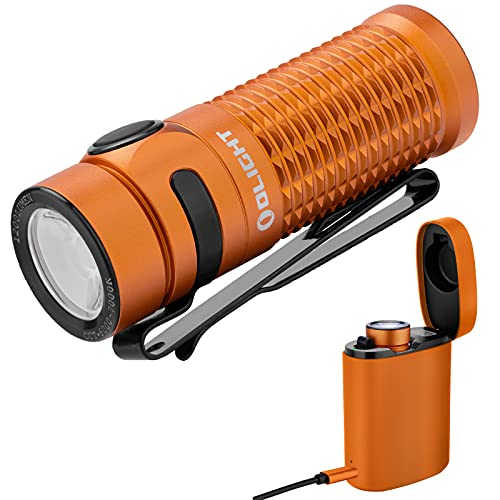 Olight Baton 3 Linterna LED Recargable Pequeño,1200 Lumens 6 Modos Impermeable IPX8,Mini Linterna LED alta Potencia profesional para Camping, Batería 16340 (Edición Premium-Naranja)