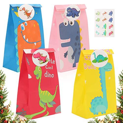 ASANMU Dinosaurier Papiertüten, 50 Stück Geschenktüten Bunte Candy Papier Tüten,6Muster DIY Adventskalender Partytüten mit Dinosticker, Kindergeburtstag, Jungen Mädchen Geschenk Papiertasche (Dino)