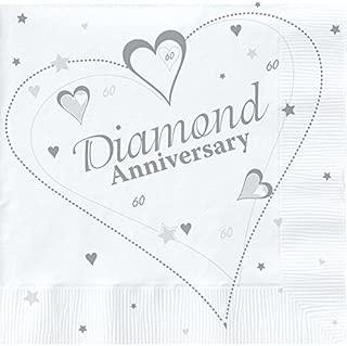 18 x Luxury Diamond 60th Wedding Anniversary Party Napkins by Napkins