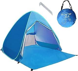 kingkindsun Dragkedja dörr pop up bärbar strandtält utomhus anti-UV strand skugga tält solskydd, automatisk omedelbar fami...