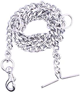 RvPaws Dog Chain Silver Grind No.12 Heavy Weight Dogs Leash Heavy Duty Dog Chain with Heavy Hook (L - 60inch) for Large Dogs